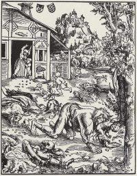 Lucas Cranach der Ältere: Werwolf (Holzschnitt, 1512)